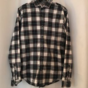 Express Fitted Plaid Button Up Long Sleeve